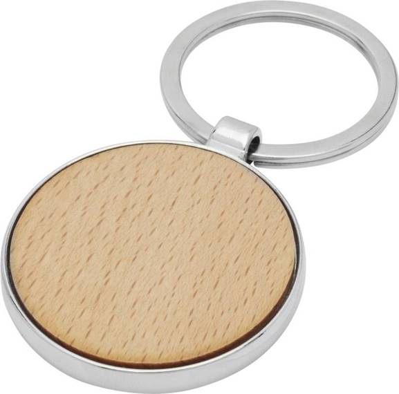 Okrągły brelok do kluczy Moreno z drewna bukowego